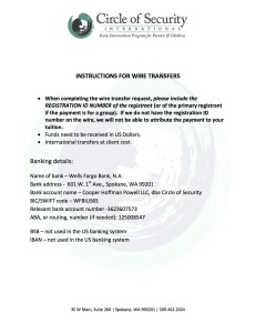 COS bank details for wire transfers_revised dec 2012
